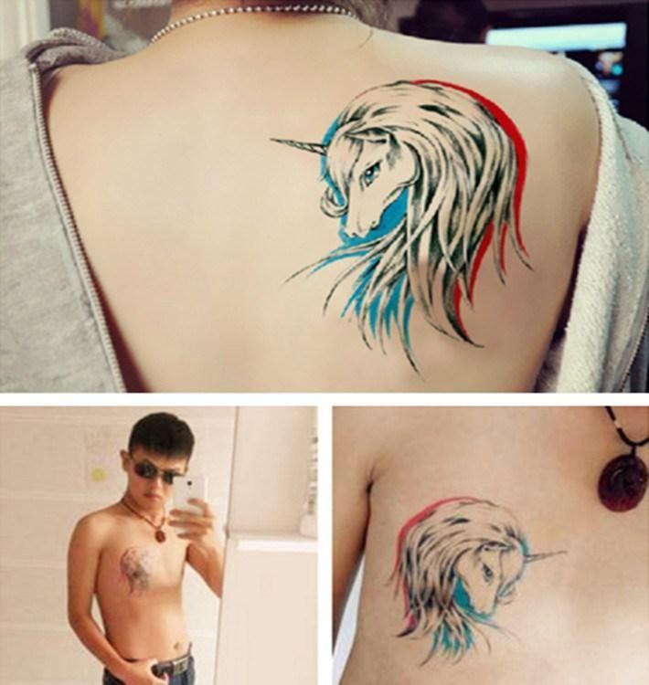 Einhorn Tattoo Wasserdicht Temporäre Tätowierung Stickers Lebensechte Tattoo Sexy Girl Dekoration Airbrush Stencil