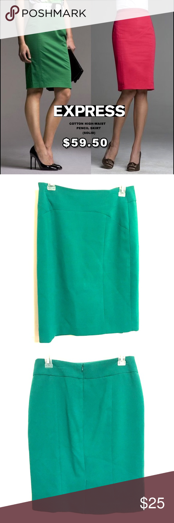 Green Pencil Skirt Pencil Skirt. Worn only a few times. Great condition! Express Skirts Pencil