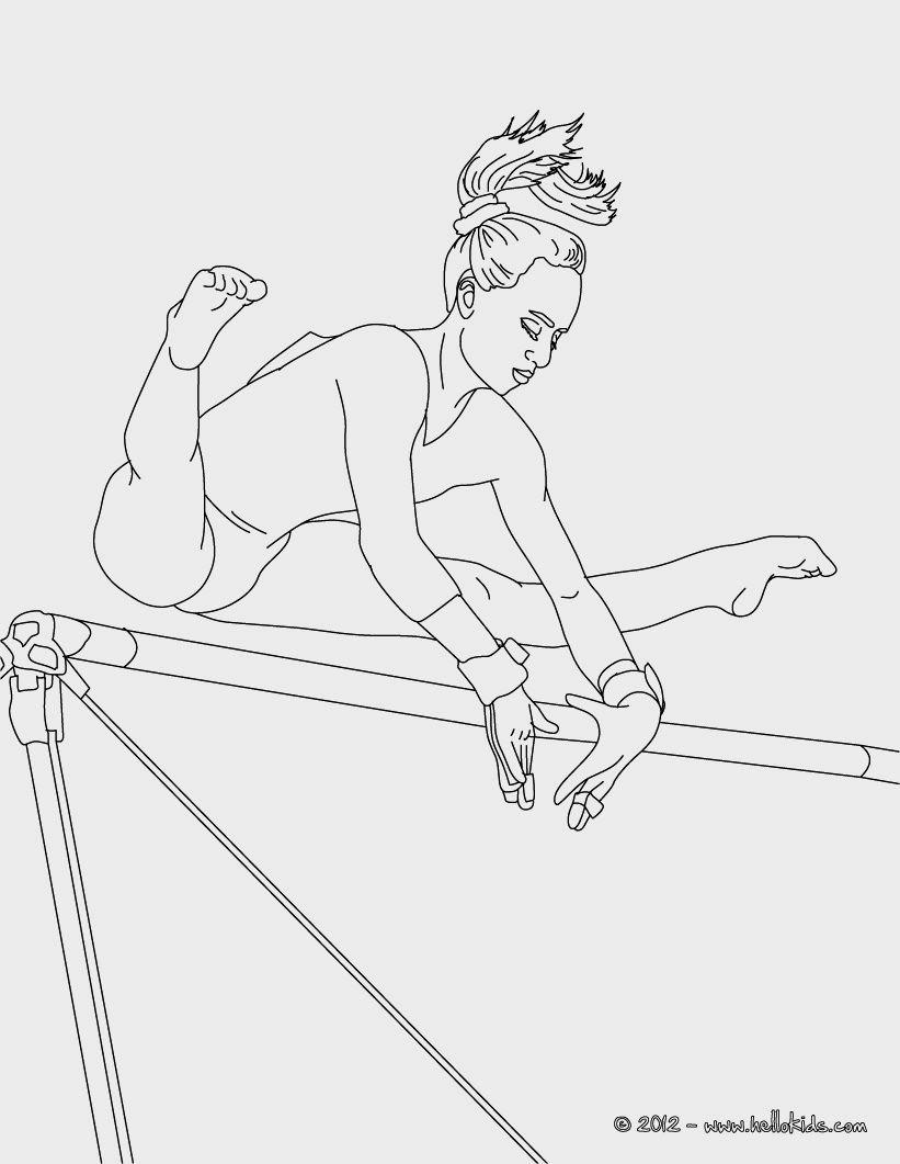 Printable Coloring Realistic Gymnastics Coloring Pages