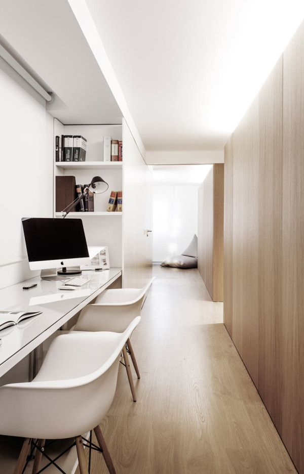 GM Apartment by onside. Neutral tones. Home office. Pinned By #MoozaDesigns. www.instagram.com/MoozaDeSigns x