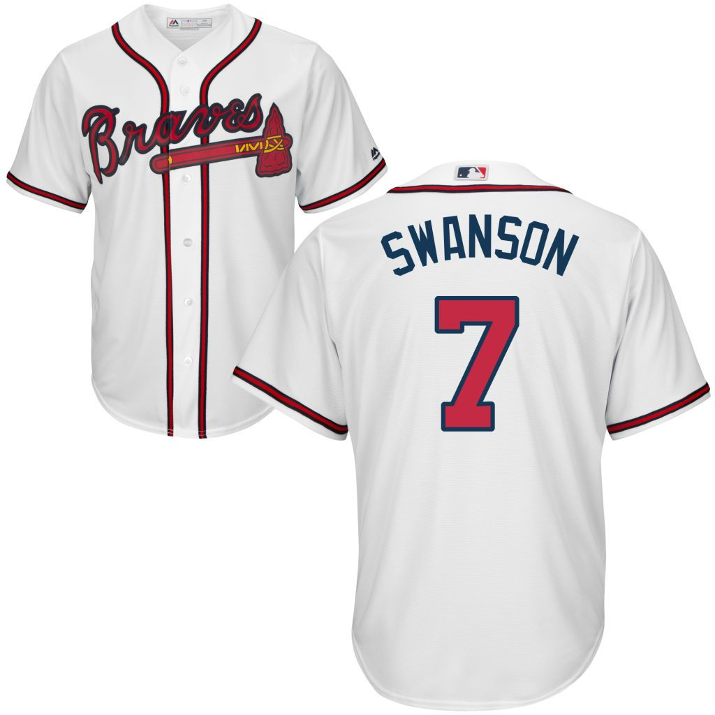 Dansby Swanson 7 Atlanta Braves White Home Cool Base Jersey Atlanta Braves Braves Jersey