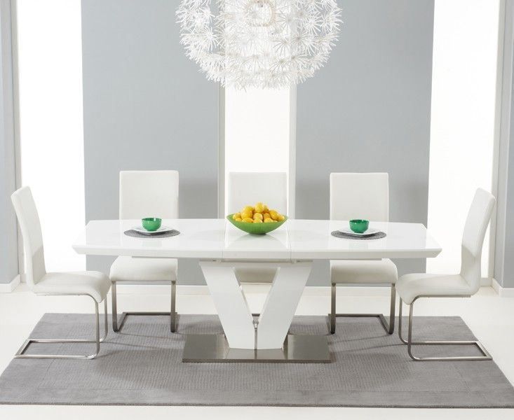 Malaga 180cm White High Gloss Extending Dining Table With Malaga