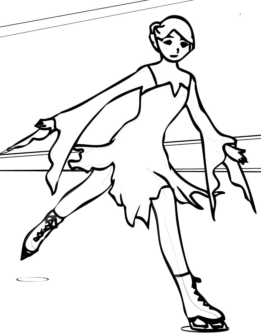 Roller skates coloring pages - Ice Skating Sport Coloring Page