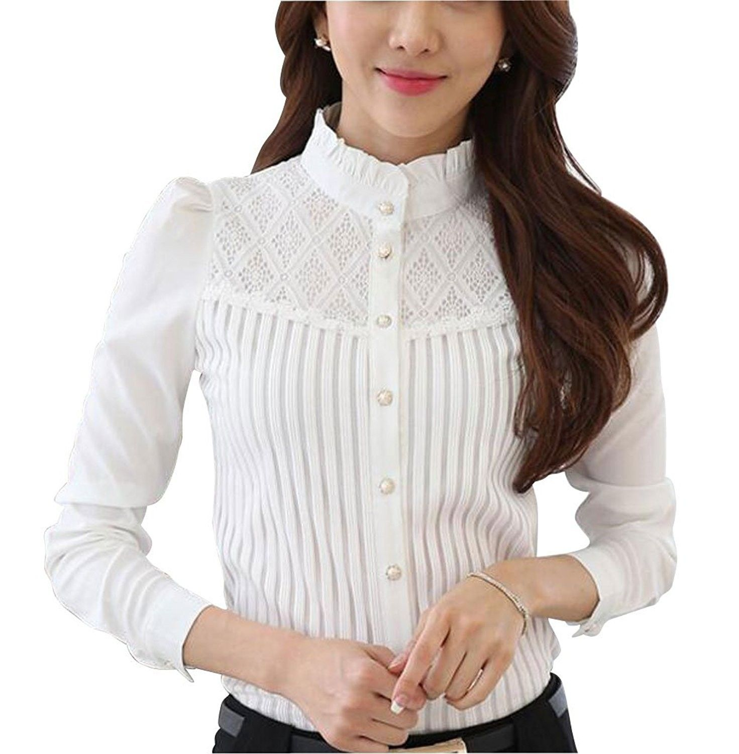 13c7a403 Women's Clothing, Tops & Tees, Blouses & Button-Down Shirts, DPO Women's  Vintage Collared Pleated Button Down Shirt Long Sleeve Lace Blouse - Stand  Up White ...