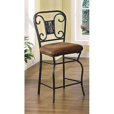 Black / Brown Metal + Microfiber Fabric Counter Dining Bar Stool Chair Set of 2