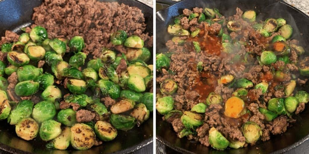 20 Minute Sweet Chili Ground Beef And Brussels Sprouts Skillet In 2020 Ground Beef Recipes Healthy Cooking With Ground Beef Ground Beef Chili