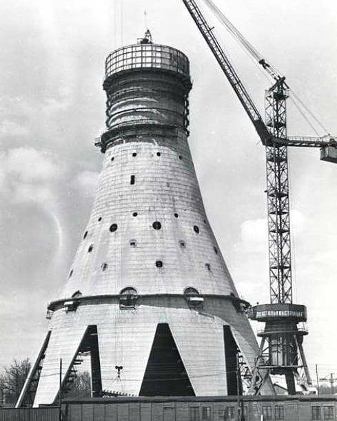Строительство Останкинской телебашни, Москва, 1960–е ...