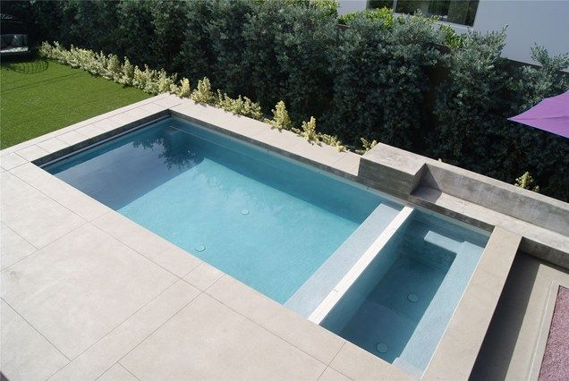 Pool modern  clean lines - Seemless coping and deck Minimalist Swimming Pool ...