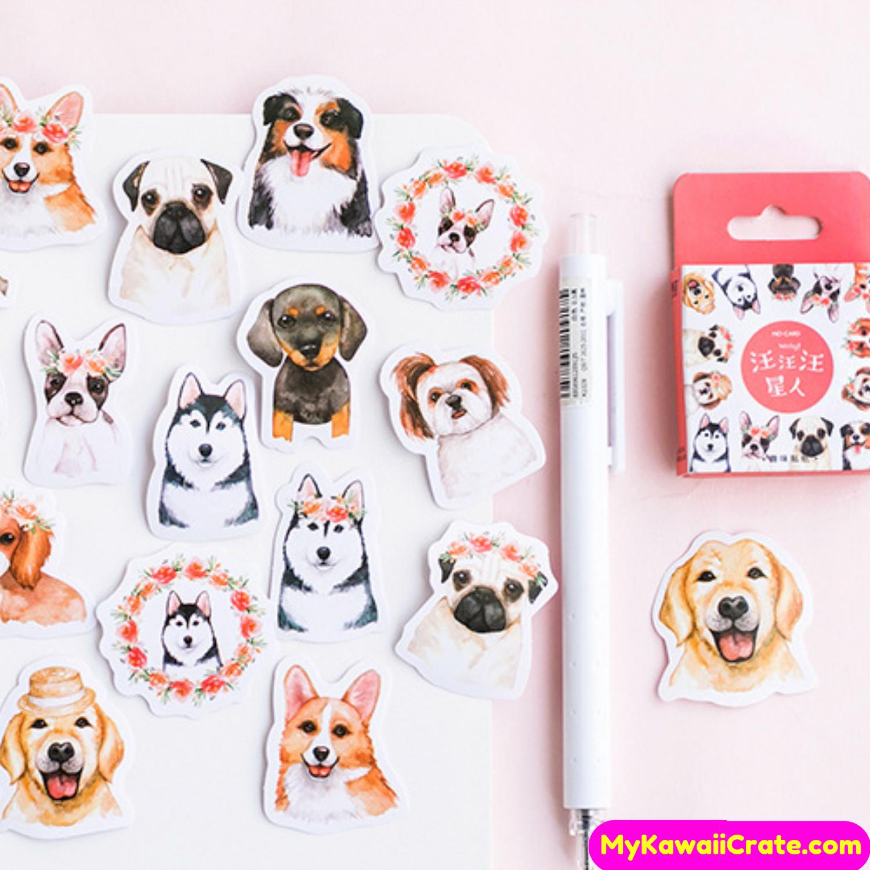 PAPER HOUSE Sticky Pix Stickers Puppy Dog Canine Photo Lifelike Pug Chihuahua