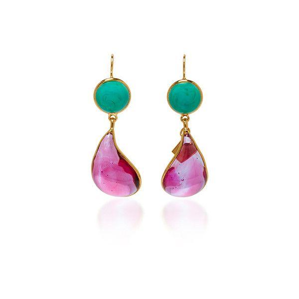 Loulou de la Falaise     24K Gold Plated Drop Earrings ($300) ❤ liked on Polyvore featuring jewelry, earrings, pink, pink drop earrings, gold plated drop earrings, gold plated earrings, 24 karat gold jewelry and pink earrings