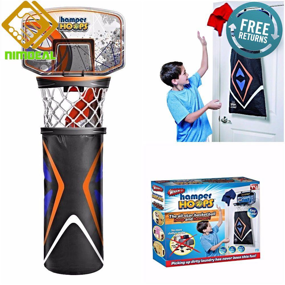BACKBOARD LAUNDRY BASKET Basketball Hamper Goal Hoop Hanging Door Shoot Net  Bag