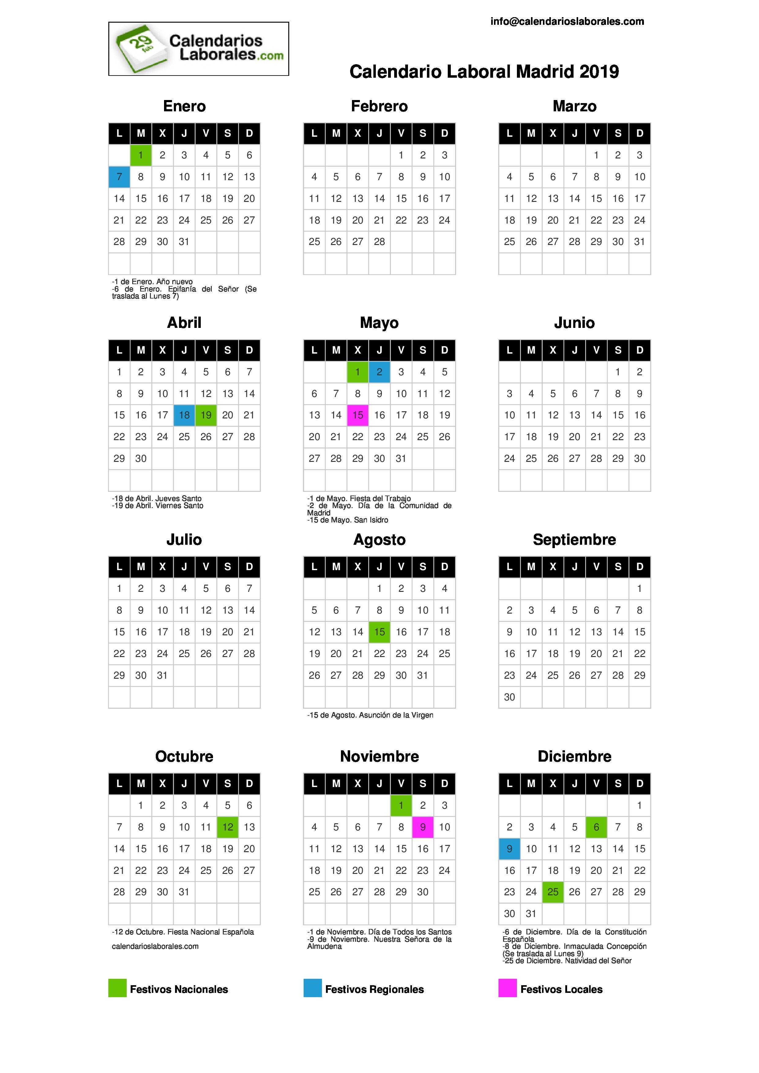 Calendario Laboral De Madrid 2019 Anticipate A Los Dias Festivos