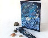 Felted journal notebook cover  blue sea star galaxy gift under 25