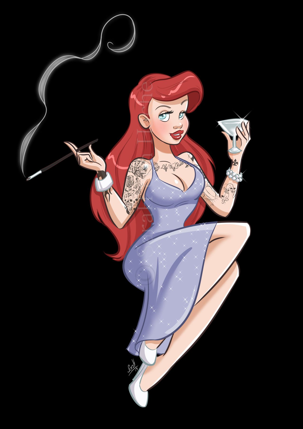 Arielle with tattoos (little mermaid version)
