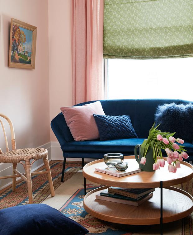 Color Palette Inspiration Olive Green Petrol Blue Warm Pink Blue And Pink Living Room Blue Couch Living Room Dark Blue Living Room