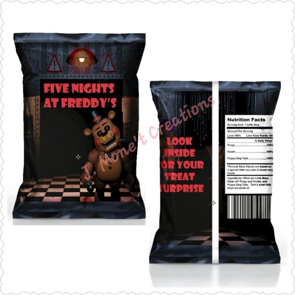 Custom Made Five Night S At Freddy S Chip Snack Favor Bags Add Your Choice Of Chips Pretzels Cotton Candy Small Toys Mini Colorong Books Crayons Etc Or