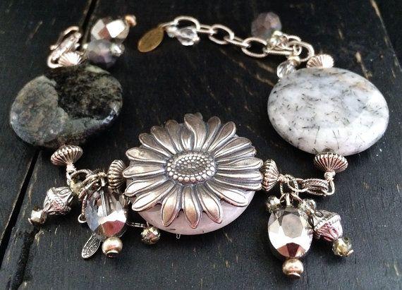 Natural Stone Bracelet Agate Bracelet Black by KarenTylerDesigns, $35.99