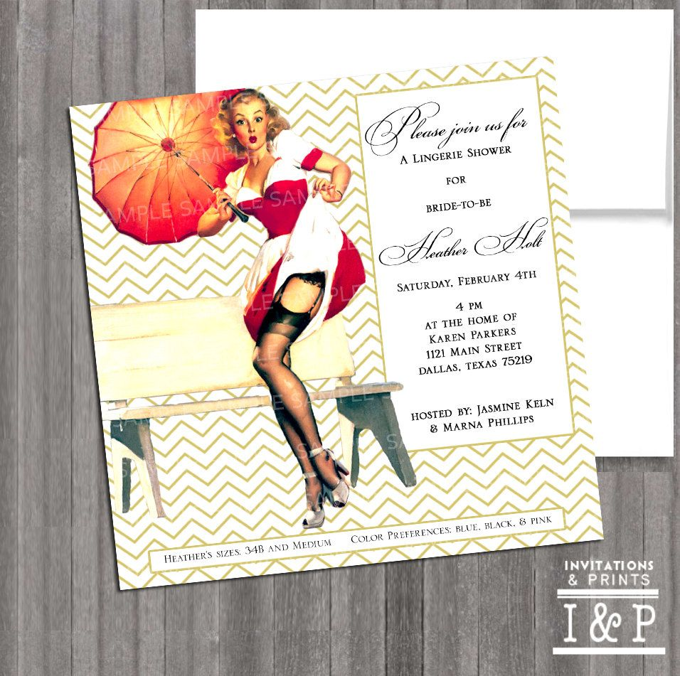 Vintage Pin Up Girl Invitation- Bachelorette party, Hens night ...