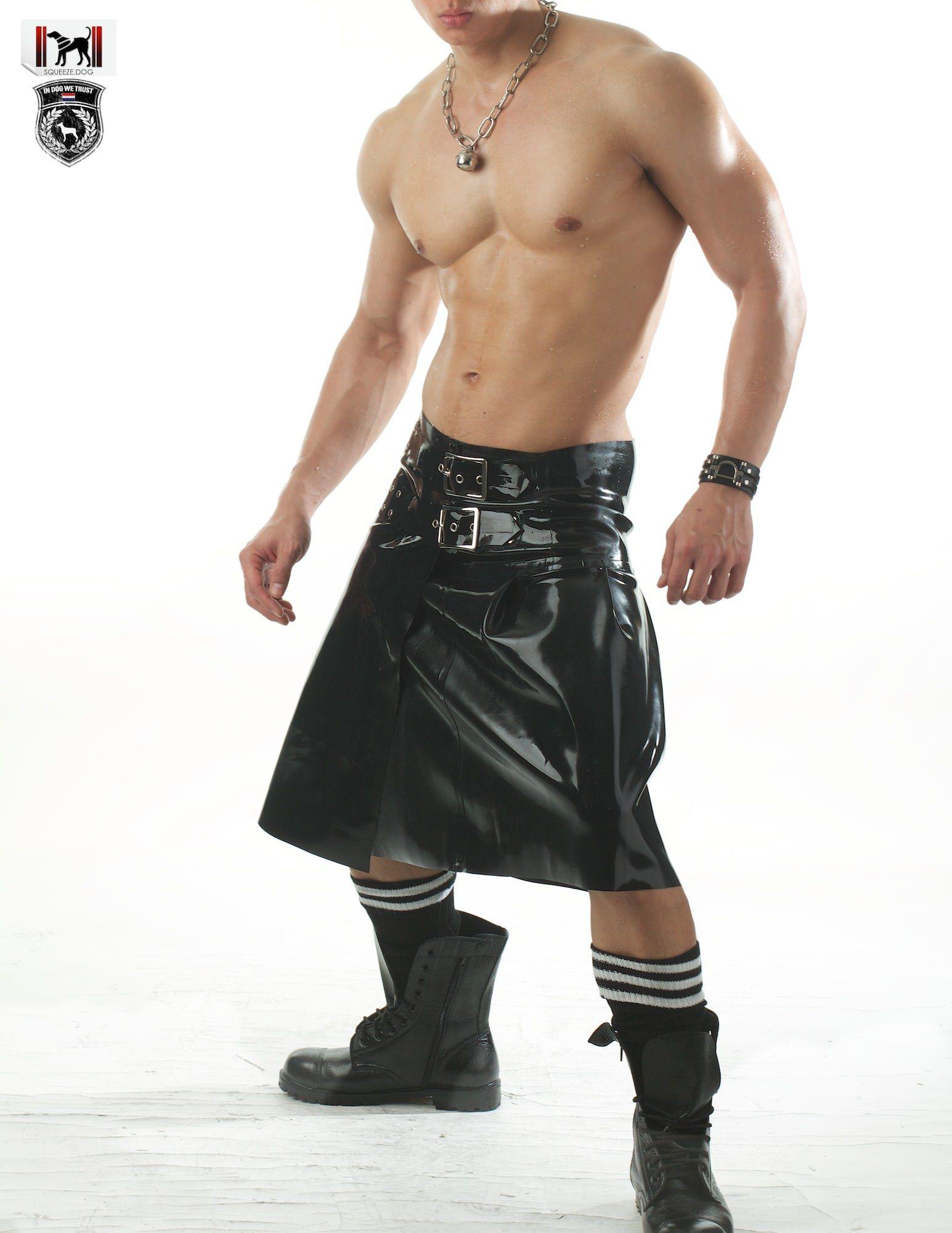 Mens Real Leather Kilt BLACK or BROWN Leather Gladiator Kilt GAY Club Wear LARP