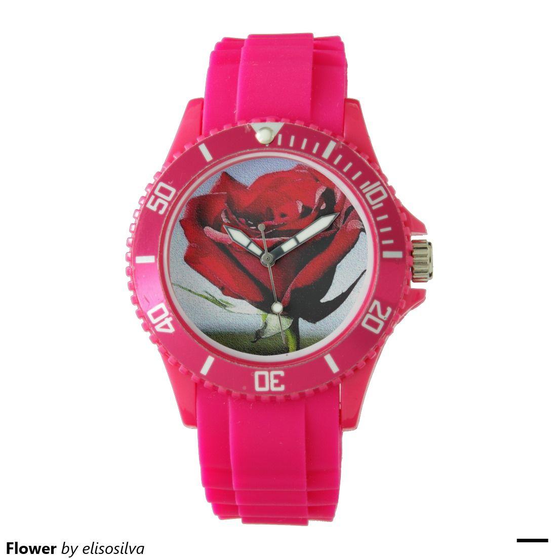 Tu reloj Reloj de pulsera deportivo de silicona rosa para mujer personalizado