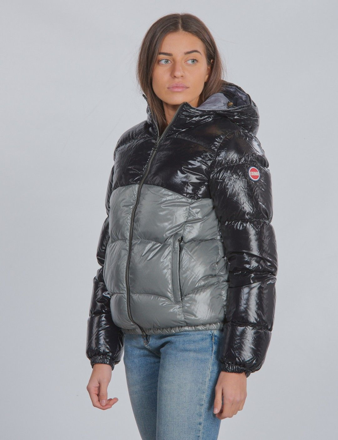 Ultra Glossy Colourblock Down Jacket Schwarz Colmar