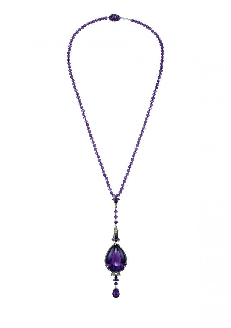 Chopard Necklace A stylish amethyst and tsavorite necklace