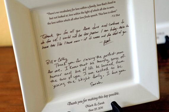 Personal Letter To Parents On A Platter Wedding Gift From Bride And