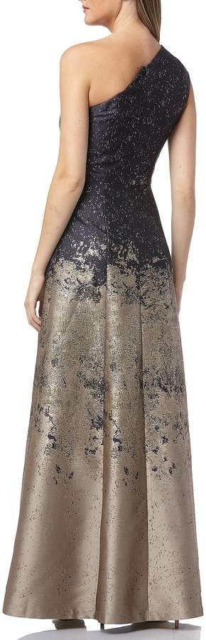 Kay Unger One Shoulder Metallic Ombre Jacquard Gown