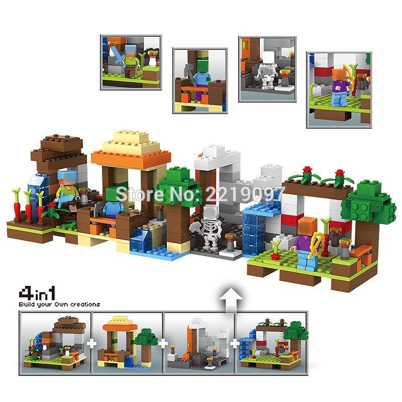 Minecraft Building Blocks My World 4 in 1 For Lego Friends DIY Brick Kids Toys