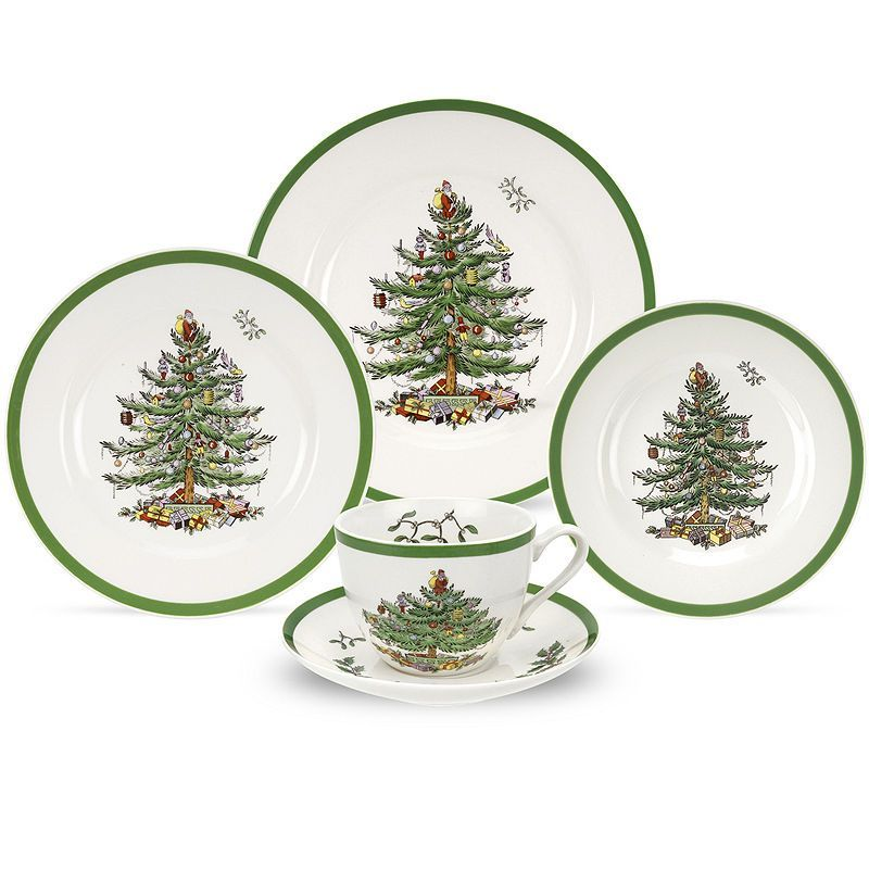 Spode Christmas Tree 5-pc Place Setting Country primitive
