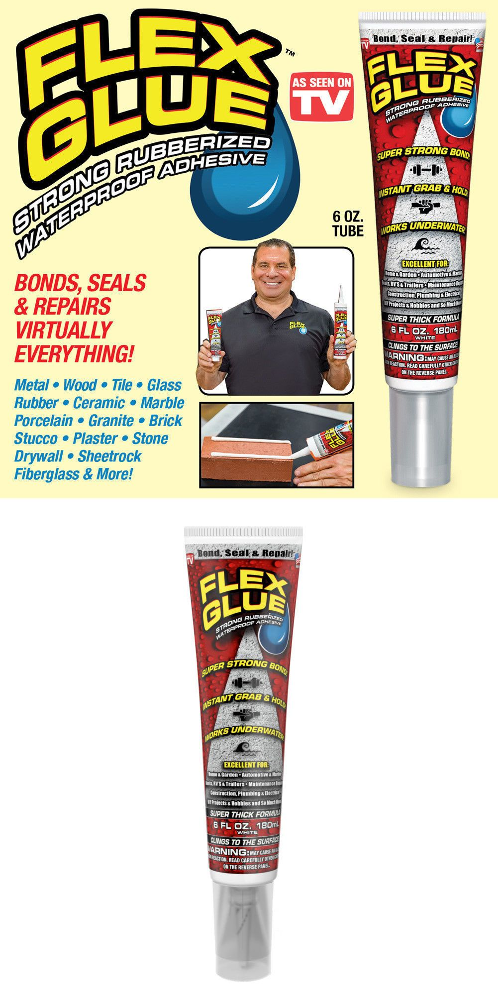 Glues And Pastes 161586 Flex Glue Strong Rubberized Waterproof Adhesive W Instant Grab 6 Oz Tube Buy It Now On Adhesive Glues