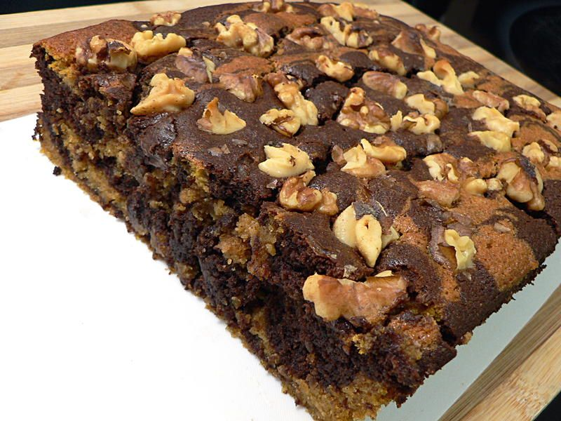 The pumpkin makes this cake recipe very moist, while the pumpkin pie spice goes really well with the dark chocolate and nuts.