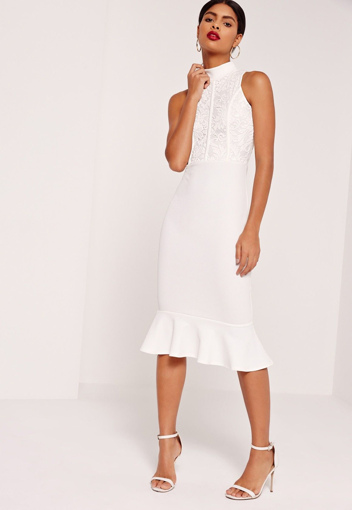ce5c7098972 Missguided - Lace Top Fishtail Midi Dress White