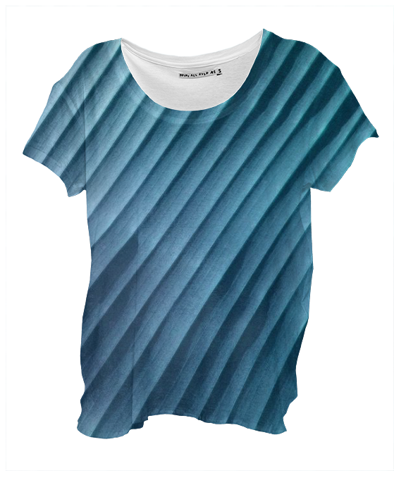Leaf Blue Drape Shirt By mae-glenn $48.00  This abstract design in shades of blue was created from an original closeup photograph of a banana leaf. The diagonal bands are the ribs of the leaf.
