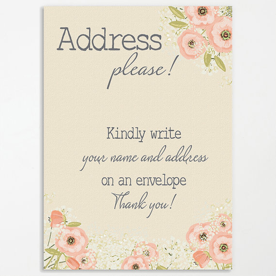 Rustic Bridal Shower Printable Sign Address an by AmaVitaDesigns