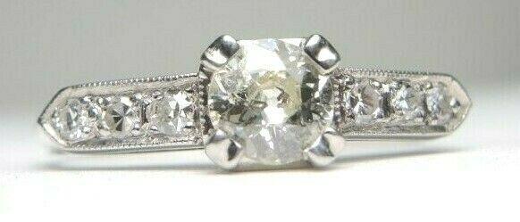 Photo of Antique Art Deco Vintage European Engagement Ring Sz 6.75 UK-N EGL USA Platinum …, #antike …
