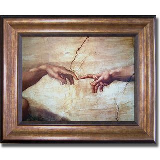 Michelangelo 'Creation of Adam (Detail)' Framed Canvas Art | Overstock.com