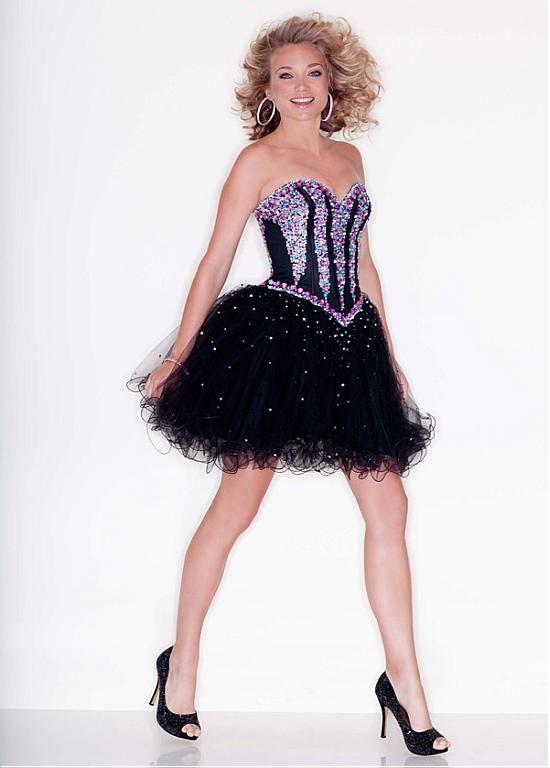 Stunning Tulle & Satin Sweetheart Neckline Short A-line Homecoming Dress