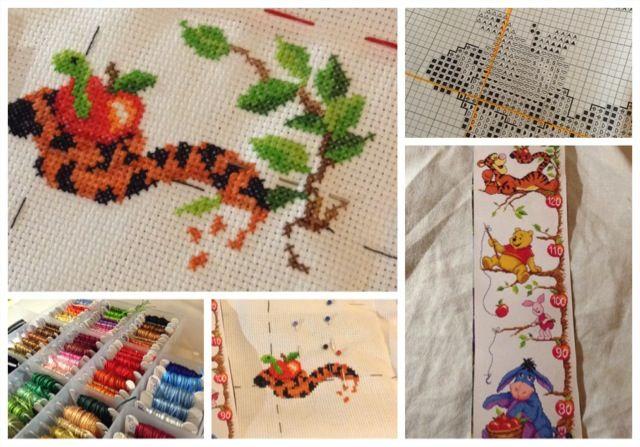 Dag 3 van het borduren van  mijn groeimeter Winnie the Pooh. Dit gaat lang duren vrees ik! Begonnen op 19-08-'13. Ik wil ook ooit nog een mooie foto van Mambo laten omzetten in een patroon en een geisha borduren.