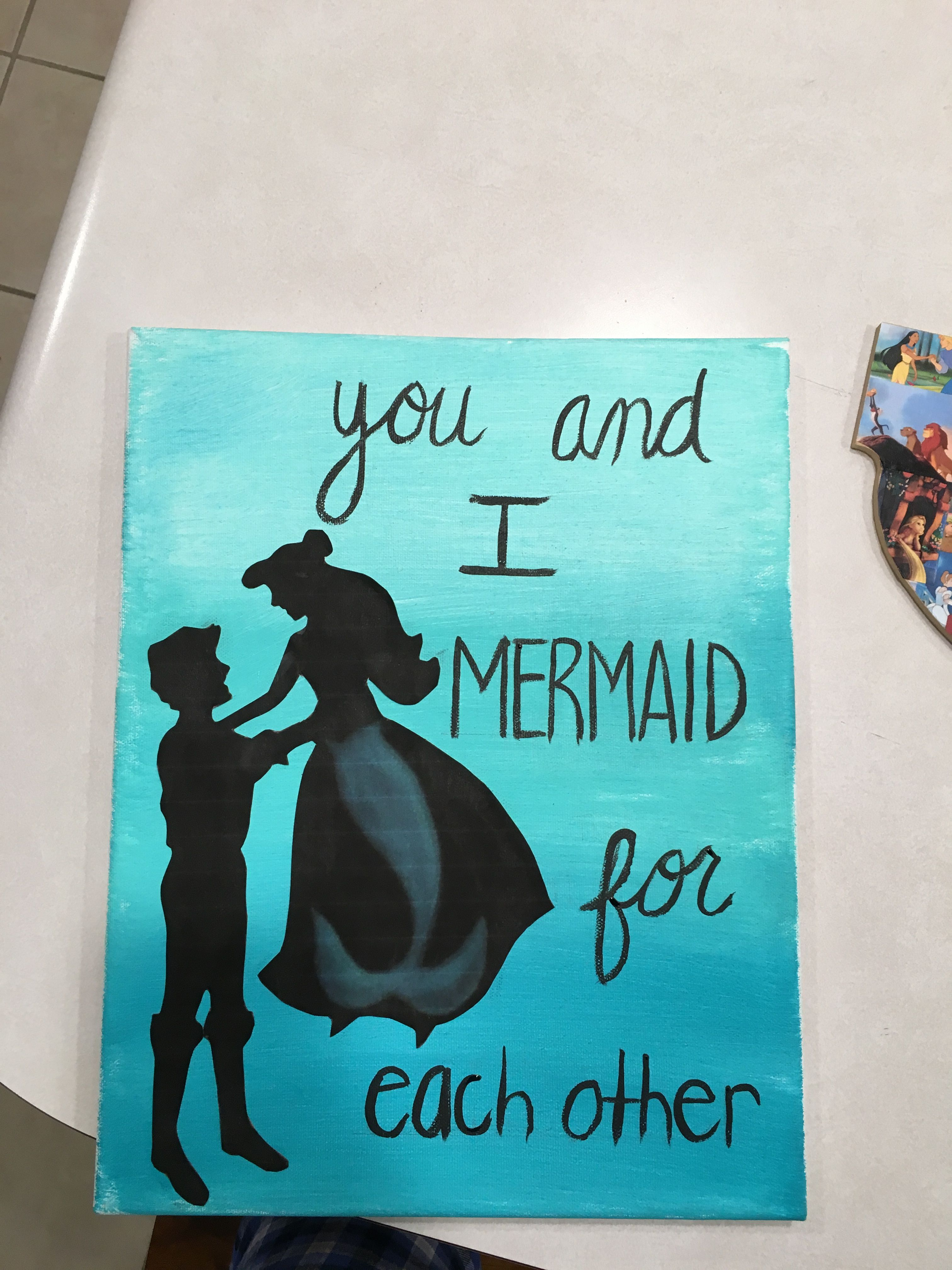 Cute disney canvas in reference to the little mermaid