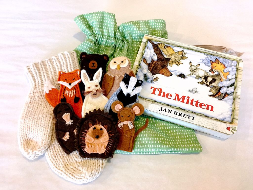 The Mitten Book Plus Felt Finger Puppets