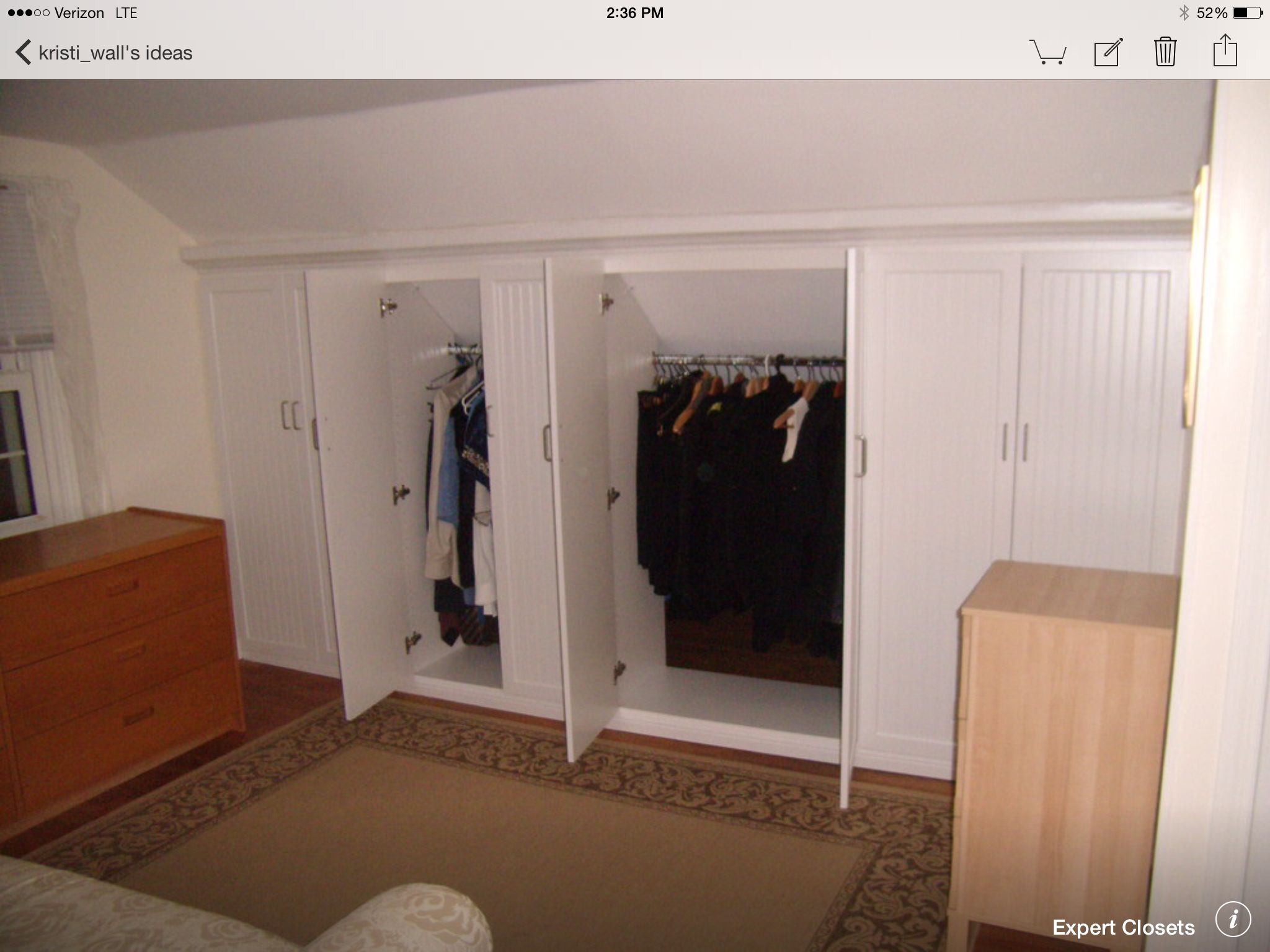 From Houzz. Converted Attic Built In Closets.