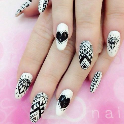 Acrylic Black And White Nail Art Pictures