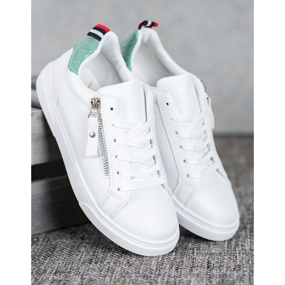 Shelovet Sportowe Buty Z Ozdobnym Suwakiem Biale Shoes White Sneaker Sneakers