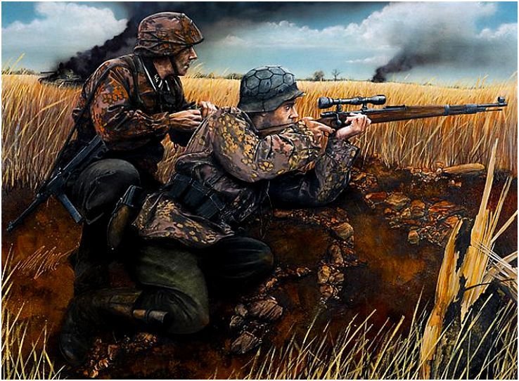 Sniper Waffen-SS with K Mauser 98k with 4x zoom viewfinder ...