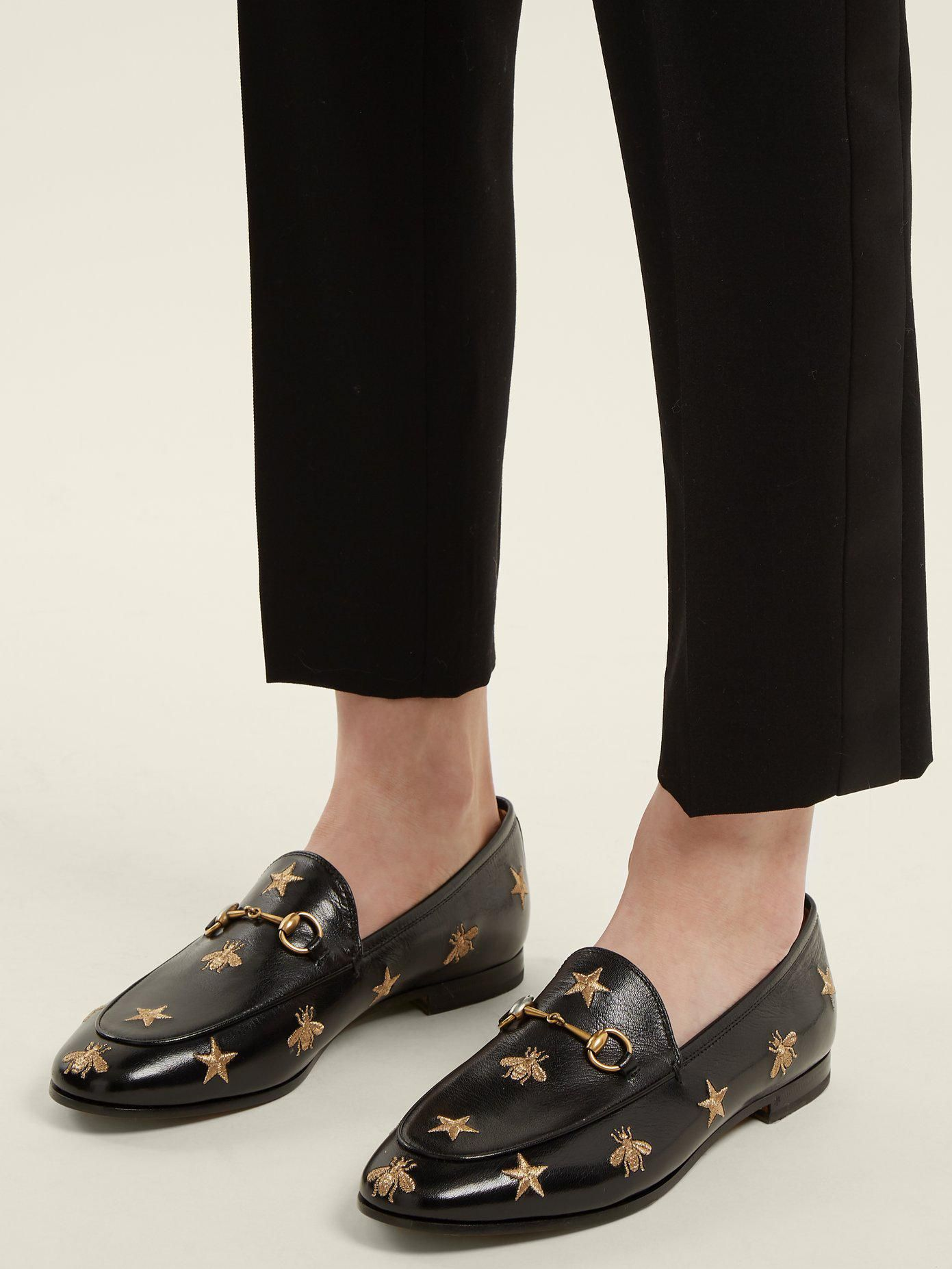 7472deb38 Women's Black Jordaan Bee Embroidered Loafers in 2019 | Shoes ...