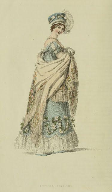 Large cream shawl, 1817 Ackermann