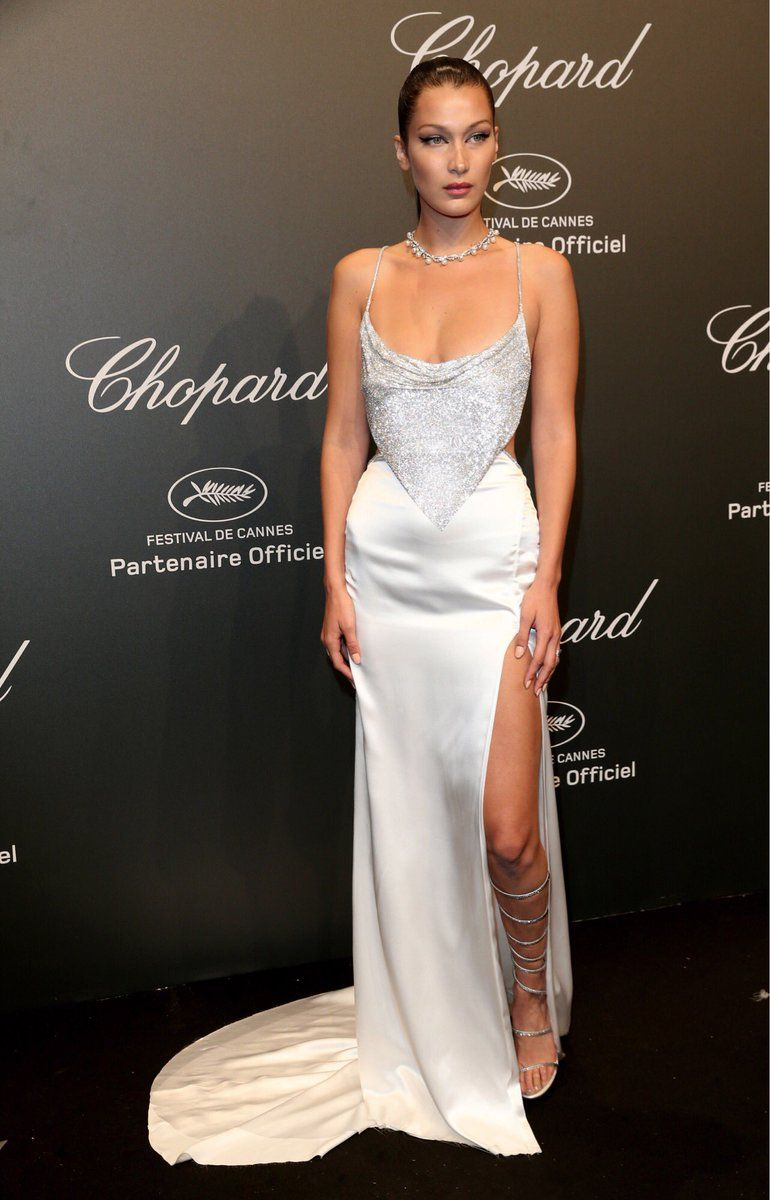 03d702e8cd02c9 Bella Hadid in a Roberto Cavalli Couture gown while attending the Chopard  Party during Cannes 2017