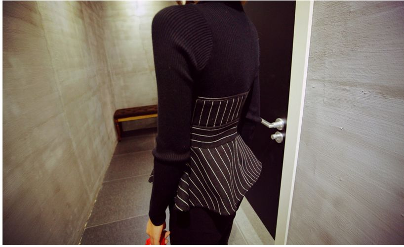 Women Slim Stripes Peplum Seamless Knit Top Blouse Sweater Pullover Black Fall