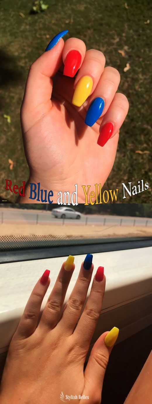 Beautiful Coffin Shaped Red Blue And Yellow Nails Ideas Rednails Bluenails Yellownails Coffinnails Blue Gold Nails Red Nail Art Designs Red Nail Art